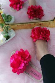 Flower Fabric Patels Sliders  Fuchsia Pink