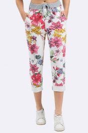 Flower Print Pocket Drawstring Trouser