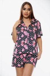 Flower Print Pyjama Set Shorts Black