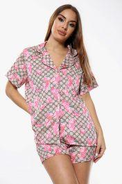 Flower Print Pyjama Set Shorts Brown