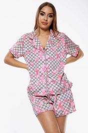 Flower Print Pyjama Set Shorts Dusky Beige