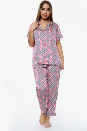 Flower Print Pyjama Set Trousers Beige