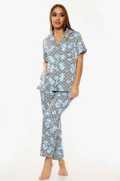 Flower Print Pyjama Set Trousers Blue