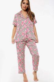 Flower Print Pyjama Set Trousers Brown