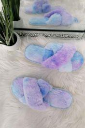 Fluffy Cross Straps Slippers Blue