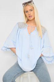 Frill Sleeve Crochet Top Blue