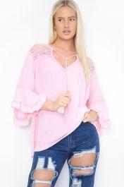 Frill Sleeve Crochet Top Pink