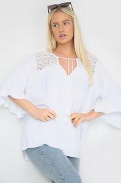 Frill Sleeve Crochet Top White