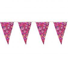 Fuchsia Floral Bunting Flag w/ Cream Lace