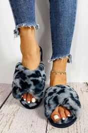 Furry Leopard Crossover Slippers Blue