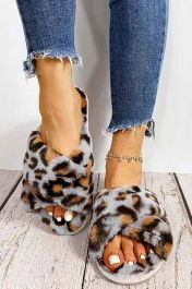 Furry Leopard Crossover Slippers Grey