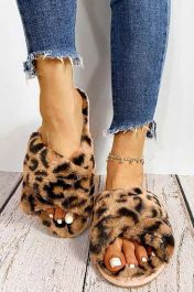 Furry Leopard Crossover Slippers Leopard