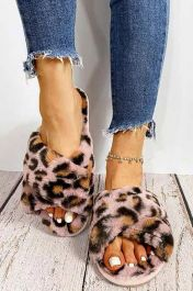 Furry Leopard Crossover Slippers Pink