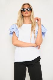 Gingham Frill Sleeve Top Blue