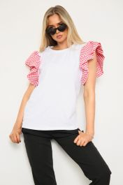 Gingham Frill Sleeve Top Red
