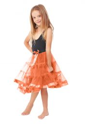 Girls 2 Layers Orange Petticoat Tutu Skirt (18 Inches Long)