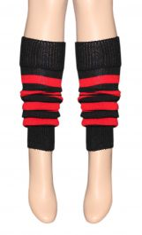 Girls Black & Red Stripe Girls Leg Warmer