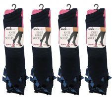 Girls Black Knee High Socks with Black Bow (12pairs)
