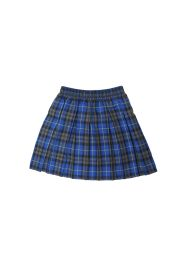 Girls Blue Box Plated Tartan Skirt
