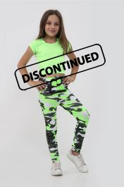Girls Green Crop Top & Camouflage Trouser Set