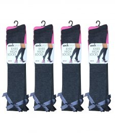 Girls Grey Knee High Socks with Grey Bow (12pairs)