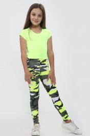 Girls Yellow Crop Top & Camouflage Trouser Set