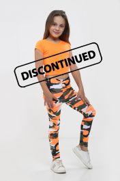 Girls Orange Crop Top & Camouflage Trouser Set
