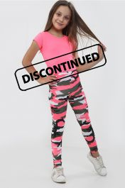 Girls Pink Crop Top & Camouflage Trouser Set