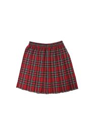 Girls Red Box Plated Tartan Skirt