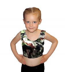 Girls Shiny Metallic Camouflage Crop Top