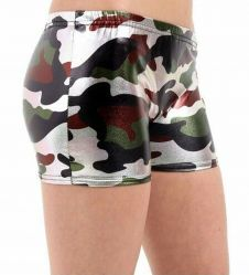 Girls Shiny Metallic Camouflage Hot Pants