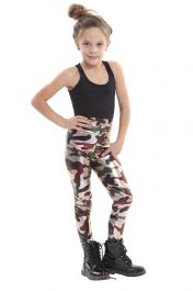 Girls Shiny Metallic Camouflage  Leggings
