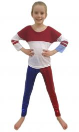 Girls Shiny Metallic Red and Blue Leggings