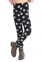 Girls Skull Printed Black Legging