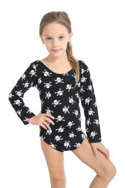 Girls Skull Printed Black leotard