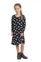 Girls Skull Printed Black Swing Dress
