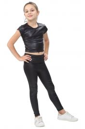 Girls Shiny Metallic Black Leggings