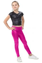 Girls Shiny Metallic Pink Leggings