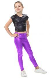 Girls Shiny Metallic Purple Leggings