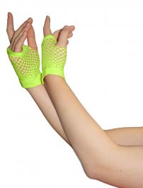 Green Fingerless Short Fishnet Gloves