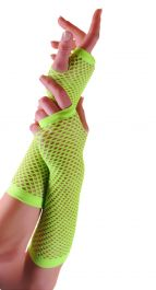 Green Long Fishnet Gloves (Dozen)