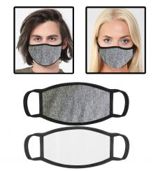 Grey Cotton Face Mask With Filter Pocket