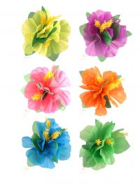 Hair Clip Hibiscus Flower Assorted Neon Colours (Pack of 12)
