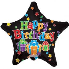 Happy Birthday Black Star parcels Balloon (18 Inches)