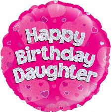 Happy Birthday Daughter Pink Holographic Balloon (18 Inches)
