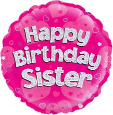 Happy Birthday Sister Pink Holographic Balloon (18 Inches)