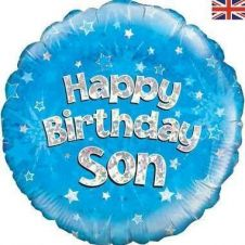 Happy Birthday Son Blue Holographic Balloon (18 Inches)
