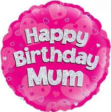 Happy Birthday Mum Pink Holographic Balloon (18 Inches)