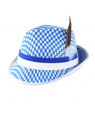 Hat Bavarian Festival W/feather & Blue/white