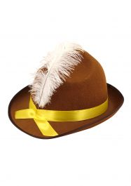 Hat Beer Festival Brown W/feather & Yellow